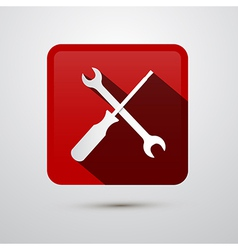 Repair Tools Icon - Screwdriver and Spanner Wrench vector image