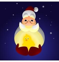 Santa Claus holding a chicken vector image vector image