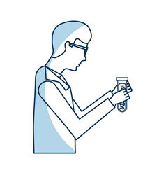 Scientific man with tube test avatar icon vector