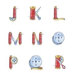 Set watercolor alphabet j-r of sewing items vector