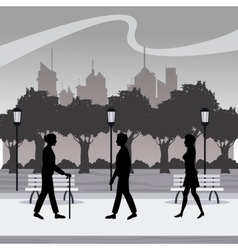 Silhouette persons walk city park brench lamp vector