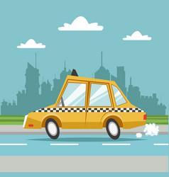 Taxi cab car city background vector