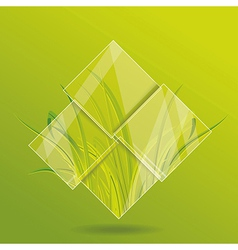 Environment concept Grass behind the glass vector image