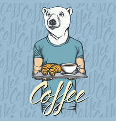 White bear with croissant and vector