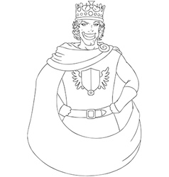 Young king with crown coloring page vector