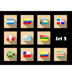 International country flags set on flat icons vector