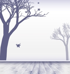 Abstract white room with trees vector