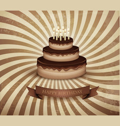 Retro background with birthday chocolate cake vector