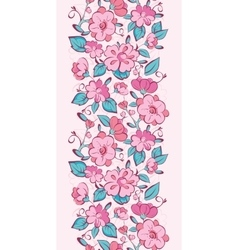 Pink blue kimono flowers vertical border vector