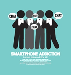 Black symbol smartphone addiction vector