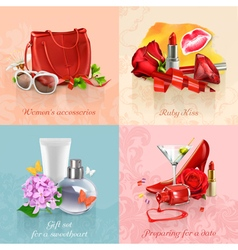 Beauty and cosmetics set of concepts backgrounds vector