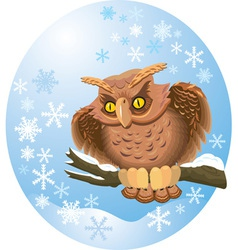cute own on branch vector image