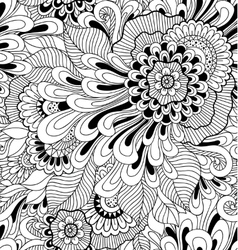 Floral seamless pattern in zen-tagle style vector