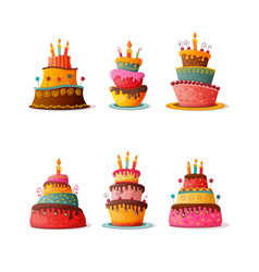 birthday cakes set isolated vector image