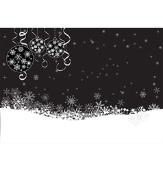 Black winter background with snowflakes vector image