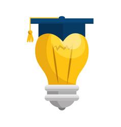 Bulb with graduation cap vector
