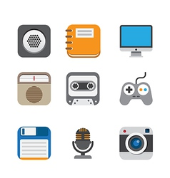 Business and interface flat icons set EPS10 vector image