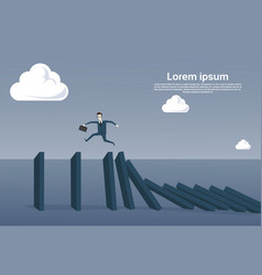 business man running on chart bar falling economic vector image vector image