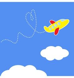Cartoon plane Dash heart in the sky Love card vector image vector image