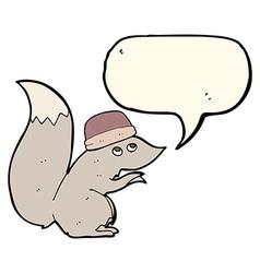 Cartoon squirrel wearing hat with speech bubble vector