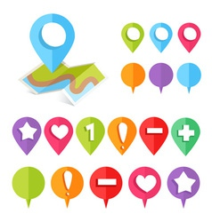 Colorful web buttons and map location pointers vector image vector image