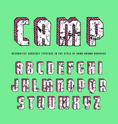 decorative rectangular sanserif bulk font vector image