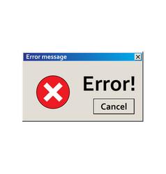 Error warning message user interface window virus vector