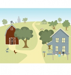 Farm house landscape vector
