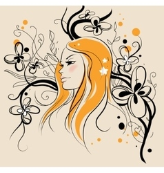 Floral woman vector image
