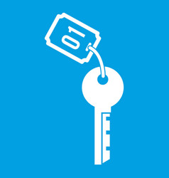 Hotel key icon white vector