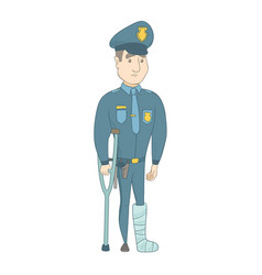 Injured young caucasian policeman with broken leg vector