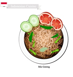 Mie goreng or traditional indonesian fried noodles vector