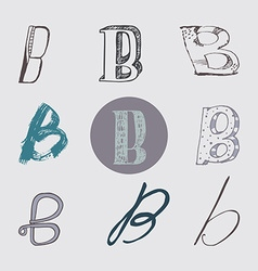 Original letters b set isolated on light gray vector