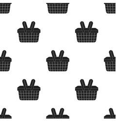 Picnic basket icon in black style isolated on vector