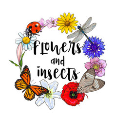 Round frame of insects and flowers with place for vector