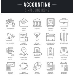 set line icons of accounting vector image vector image
