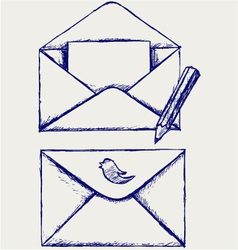 Sketch envelope vector image