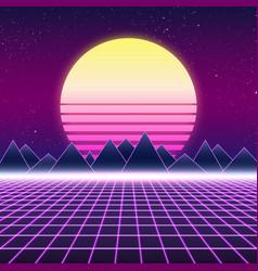 Synthwave retro design mountains and sun vector