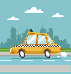 Taxi cab car city background vector