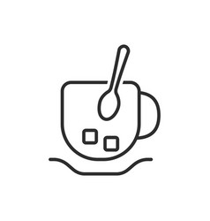 thin line cup and spoon icon vector image