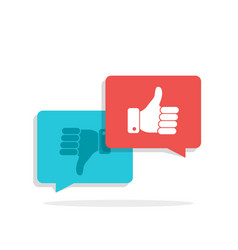 thumbs up and thumbs down symbol in speech bubbles vector image vector image