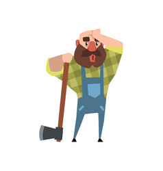 Tired lumberjack leaning on axe and rubbing his vector