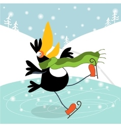 Toucan learn to skate vector image vector image
