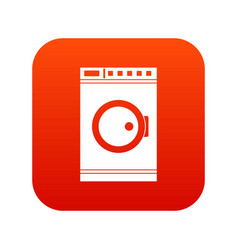 Washing machine icon digital red vector