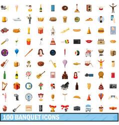 100 banquet icons set cartoon style vector