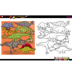 Dino characters coloring book vector