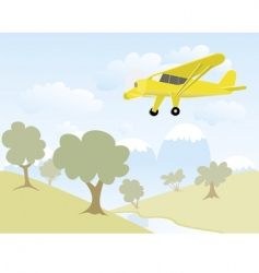 airplane over mountains vector image