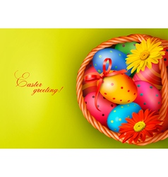 Easter background with Easter eggs and flowers vector image