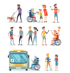 Disabled people and help for them white poster vector