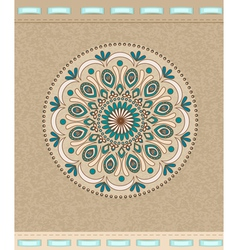 Vintage background with oriental ornaments and rib vector image